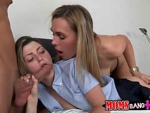 Hot cougar sets up her student for 3some