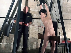Extreme electro bdsm and wooden device bondage
