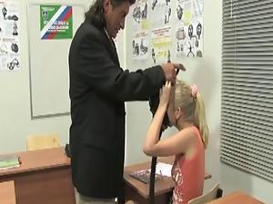 Blonde In Mask Eats Teacher's Co...