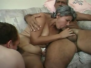 Short Haired Grandma Trying To B...