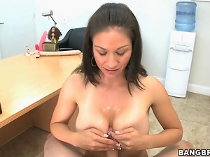 Sweet milf gives wet blowjob
