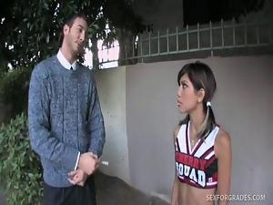 Taut Oriental Cheerleader Receiv...