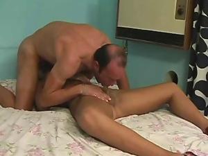 Amazing tranny in stockings fucking