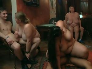 Three fat sluts handle three young cocks