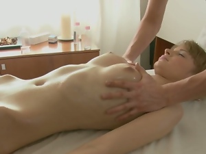 Oiled body massaged and screwed hard