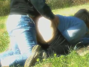 Real amateur italian chubby fucking on the grass