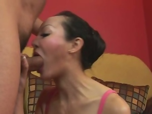 Asian milf slut takes it up the ass