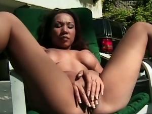 Exotic asian babe outdoor masturbation