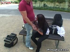 Kinky brunette gives head near the park