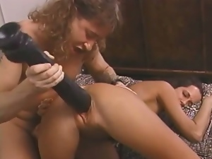 Big dildo pussy stretching and double penetration
