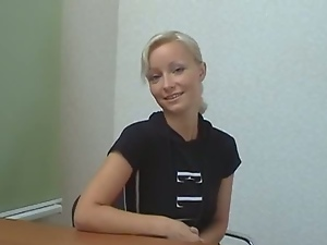 Blonde ester strips at her casting