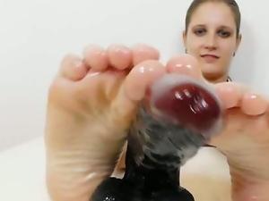Hot toy footjob