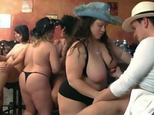 Bbw sluts enjoying group sex orgy in a fatty bar