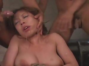 Japanese babe fucked while bonded