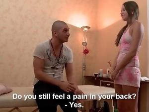 Skinny brunette teen shows up for her massage
