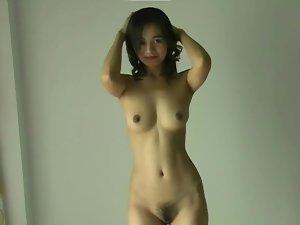 Skinny Asian body is perfect in panties