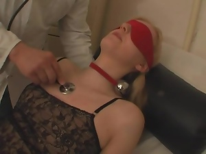 Gagged and blindfolded girl fucked by doctor