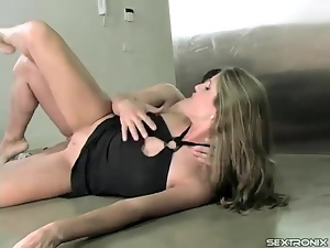 Footjob and anal sex with girl in a black dress