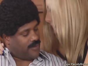 Hot Blondy rides so Wild into Black Guy Big Cock