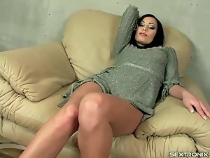 Glam girl striptease from thin sweater dress