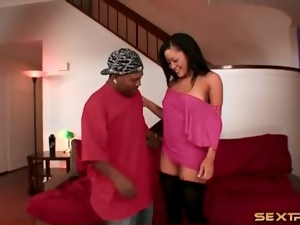 Young Asian is eager to suck his big black cock