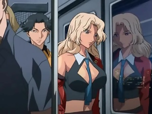 Anime girl fondled and fucked on subway train