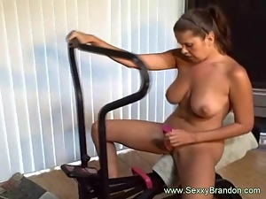 Dildo Exercise Machine Gets Her Kinky Pussy Wet