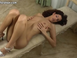Tall skinny chick with curly hair erotic solo