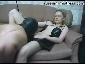 Mistress in red lipstick gets pussy and ass worshiped