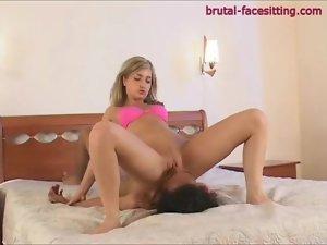 Pink panties chick rides his face