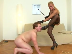 Dominatrix abuses sub guy in so many ways