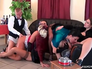 Barkeep fucks hot bitches at a classy party