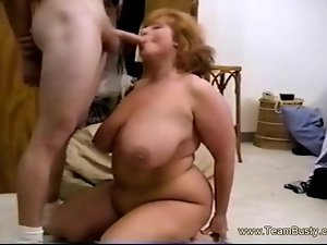 Fat Mama Gives BJ,Rides Cock and Takes Cumshot in Huge Boobs