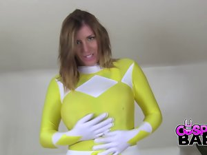 CosplayBabes Yellow Power Ranger with big melons