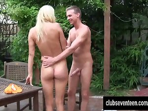 Tempting blonde barely legal teen Christen accept prick in the garden