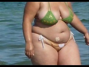 Fatty Bikini - Candid butt - Beach Naughty bum voyeur - Spying Bum