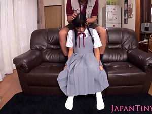 Squirting Sensual japanese schoolgirl loves toys in naughty ass and twat