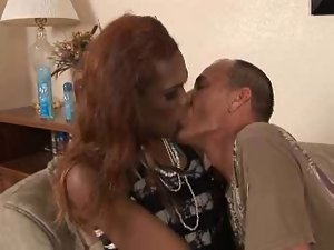 Tall Slender slutty ebony transsexual has fun with a happy lad