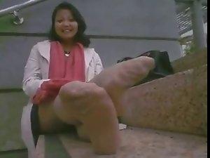 stinky pantyhose outdoors