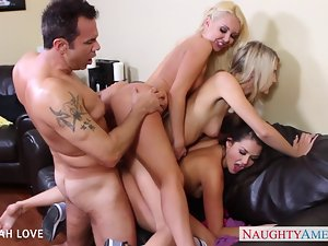 Lovely Aaliyah Love shagging in foursome