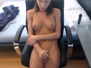 Seductive slim transsexual irreproachable knockers playing with shaven pecker #3