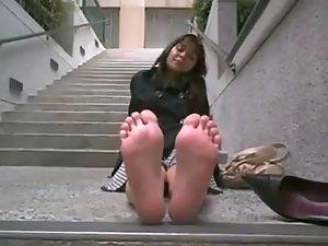 stinky feet outdoors