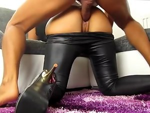 German chick banged in the leggings and high heels