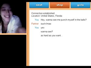 Self Ballbusting on Omegle