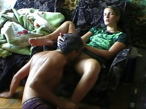 Man lick and fuck Slutty russian muff