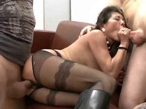 Very hairy german granny in boots receives two pricks