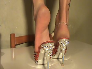 Feet in shoes luscious mules
