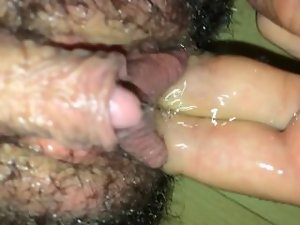 Transguy pissing, graphic close up, big clit