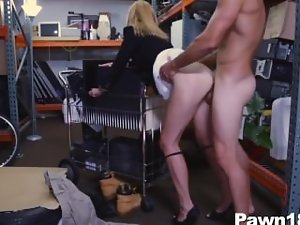 Lewd Blond Filthy bitch Screws for Money at Pawn Shop