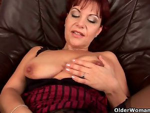 Soccer cougar in stockings toying her dampish cunt muscle